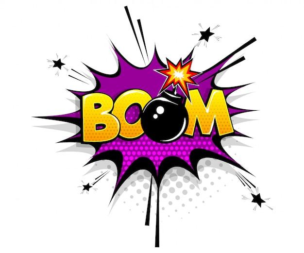 Texto cómico boom bomba en estilo pop art de dibujos animados de burbujas de discurso