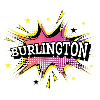 Texto cómico de burlington en estilo pop art