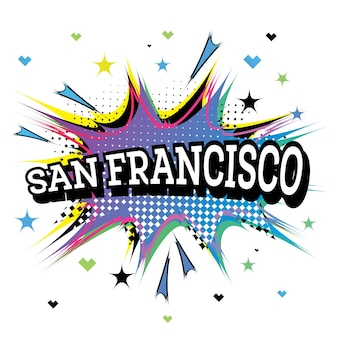Texto cómico de san francisco california en estilo pop art
