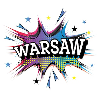 Texto cómico de varsovia en estilo pop art. ilustración de vector.