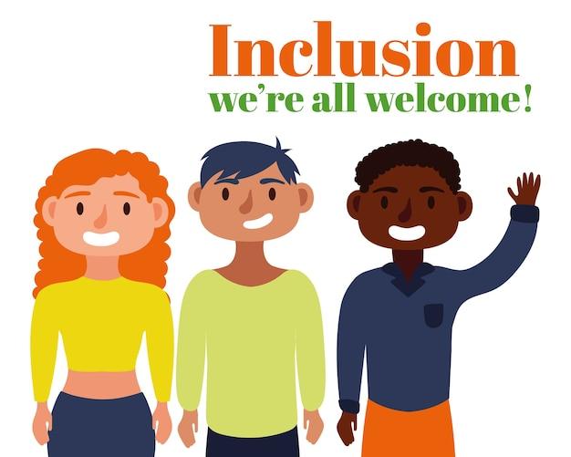 Texto del concepto de inclusión con personajes de amigos del grupo