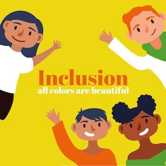 Texto del concepto de inclusión con personajes de personas de la comunidad