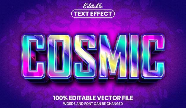 Texto cósmico, efecto de texto editable de estilo de fuente