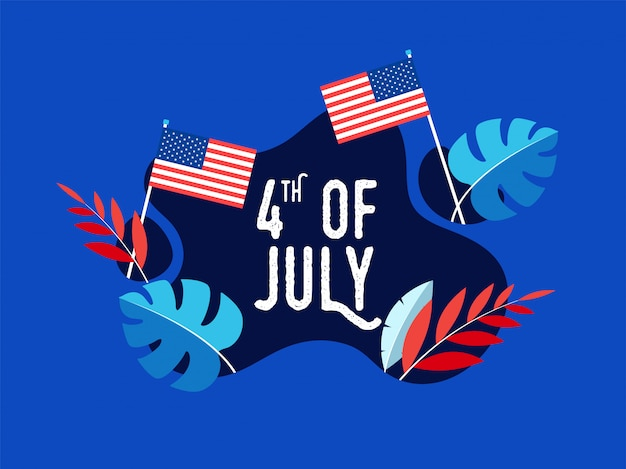 Texto creativo el 4 de julio con banderas americanas y hojas coloridas.