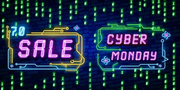 Texto de cyber monday en estilo neón.