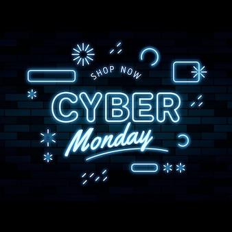 Texto de cyber monday en estilo neón