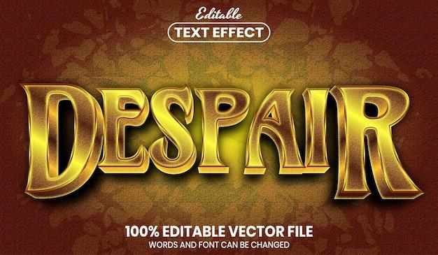 Texto de desesperación, efecto de texto editable de estilo de fuente