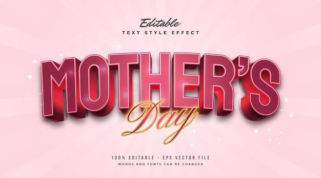 Texto del día de la madre en rojo y efecto brillante. efecto de estilo de texto editable