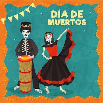 Texto de dia de muertos con ilustración de catrina y baterista de esqueleto con motivo de la celebración del día de los muertos.