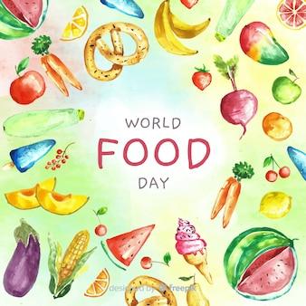 Texto del día mundial de la comida rodeado de alimentos