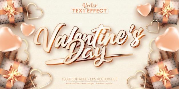 Texto del día de san valentín, efecto de texto editable estilo color oro rosa