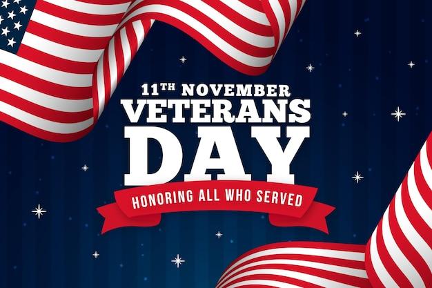 Texto del día de los veteranos con fondo de bandera americana