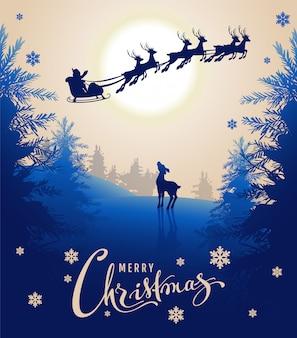 Texto de diseño de tarjeta de feliz navidad. joven ciervo mira silueta trineo de renos de santa en el cielo nocturno. bosque de hadas de invierno