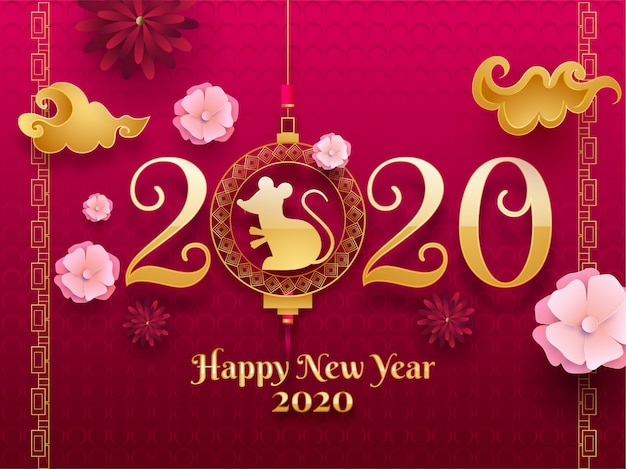 Texto dorado 2020 con signo de zodiaco de rata colgante y flores de papel decoradas en un patrón de círculo rosa transparente para la celebración del feliz año nuevo chino