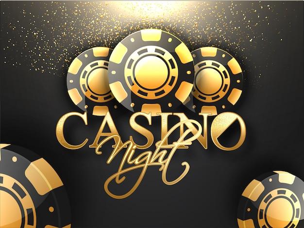 Texto dorado casino night con fichas de póker y efecto de luz de brillo.