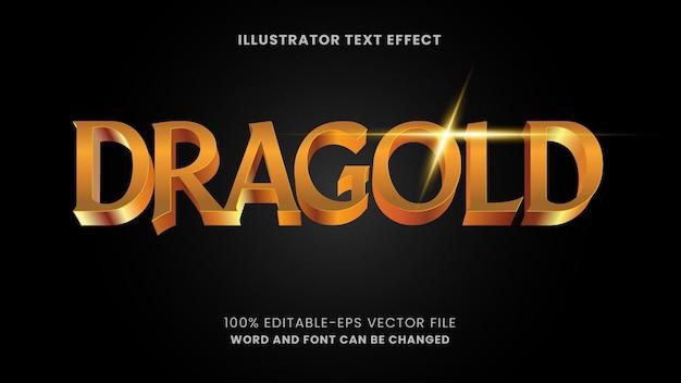 Texto dorado, efecto de texto editable de estilo dorado brillante