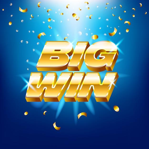 Texto dorado para máquinas de casino, juegos de azar, éxito, premio, ganador afortunado