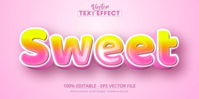 Texto dulce, efecto de texto editable de estilo de dibujos animados