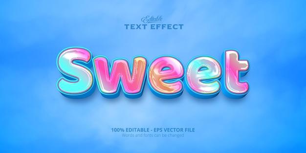 Texto dulce, efecto de texto de estilo colorido editable