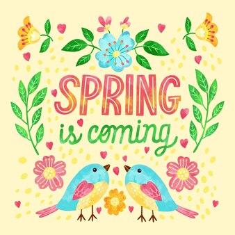 Texto e ilustraciones en acuarela de la temporada de primavera