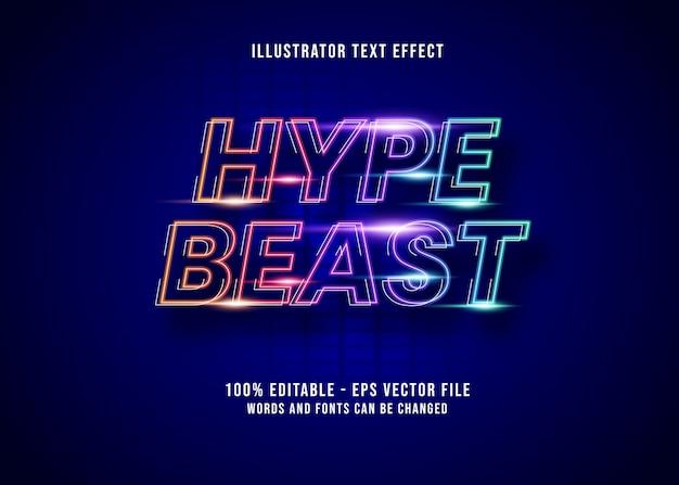 Texto editable colorido hypebeast con efectos de luz de neón