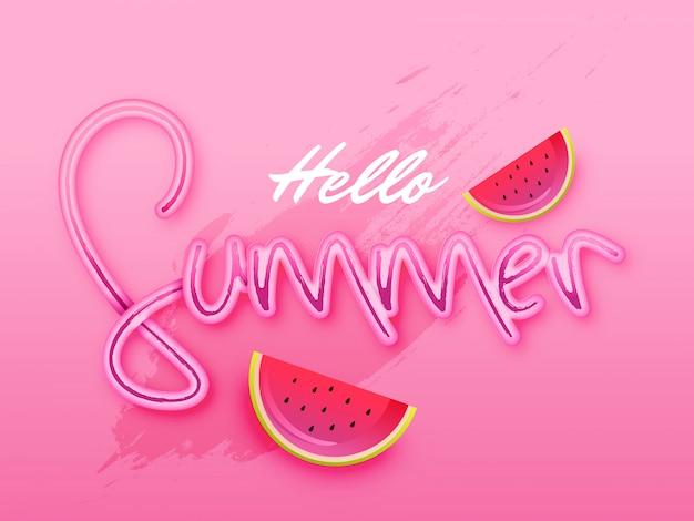 Texto elegante de hello summer sobre fondo rosa.