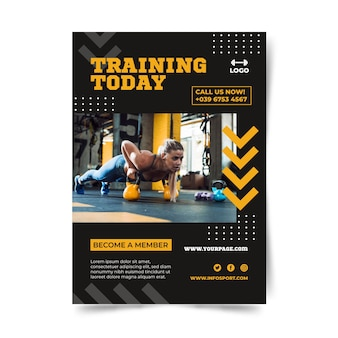 Texto de entrenamiento hoy de plantilla de póster deportivo