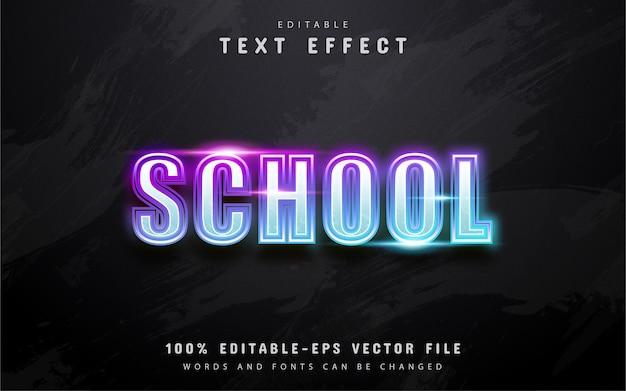 Texto escolar, efecto de texto de estilo neón colorido