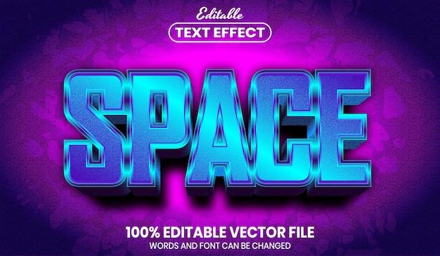 Texto de espacio, efecto de texto editable de estilo de fuente