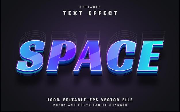 Texto de espacio, efecto de texto de estilo 3d editable