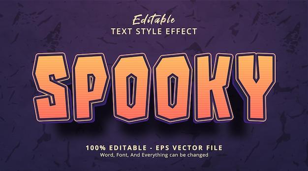 Texto espeluznante en el estilo del cartel del evento de halloween, efecto de texto editable