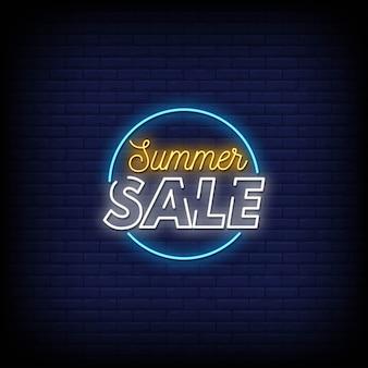 Texto de estilo de carteles de neón de venta de verano