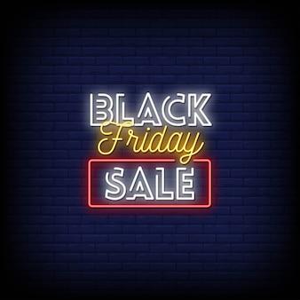 Texto de estilo de carteles de neón de venta de viernes negro