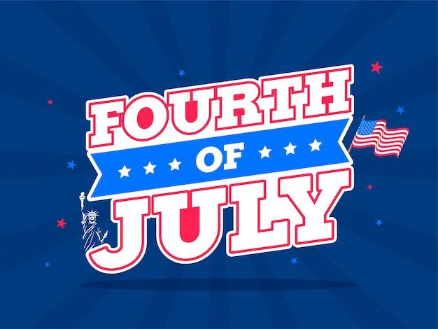 Texto de estilo de la etiqueta engomada del cuatro de julio con una bandera ondulada en azul rayos ba