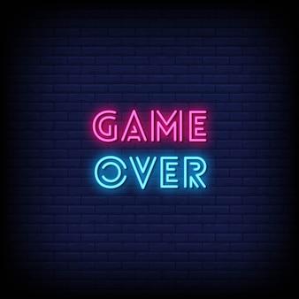 Texto de estilo de juego sobre letreros de neón