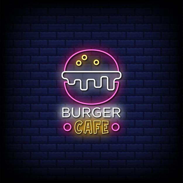 Texto de estilo de letrero de neón de burger cafe