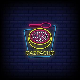 Texto de estilo de letrero de neón de gazpacho