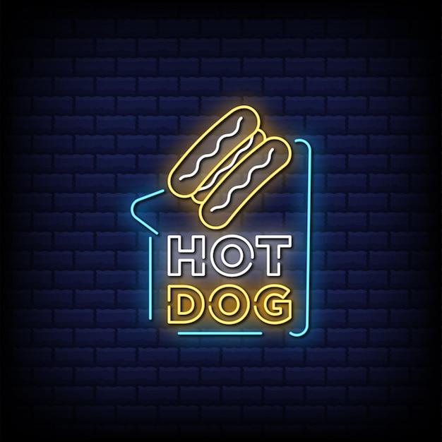 Texto de estilo de letrero de neón de hot dog