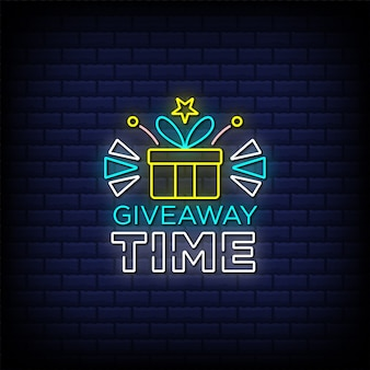 Texto de estilo de letrero de neón de tiempo de sorteo con icono de caja de regalo