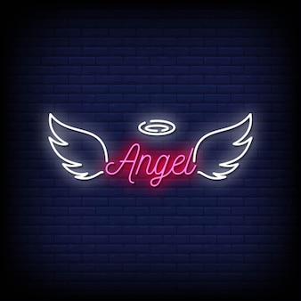 Texto de estilo de letreros de neón de ángel
