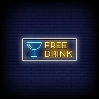Texto de estilo de letreros de neón de bebida gratis
