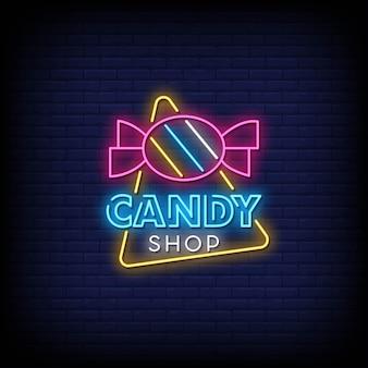 Texto de estilo de letreros de neón de candy shop