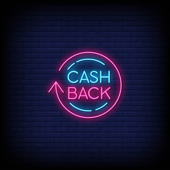 Texto de estilo de letreros de neón cashback