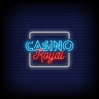 Texto de estilo de letreros de neón de casino royal