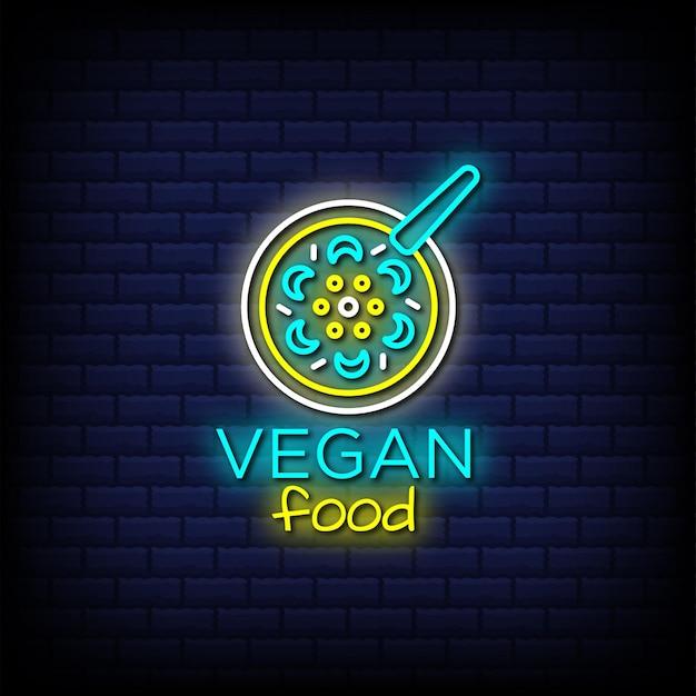 Texto de estilo de letreros de neón de comida vegana