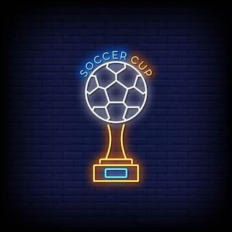 Texto de estilo de letreros de neón de la copa de fútbol