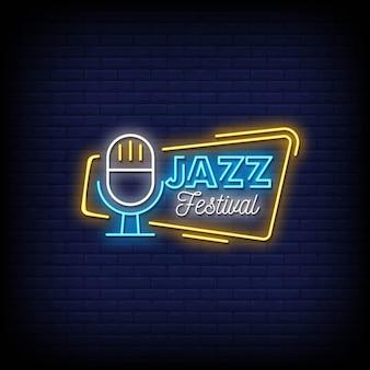 Texto de estilo de letreros de neón del festival de jazz