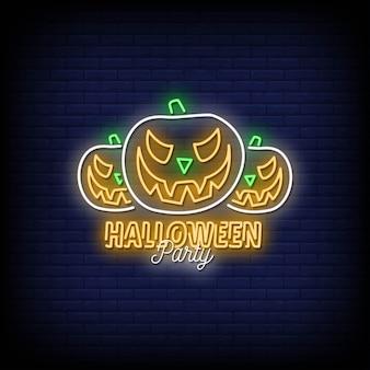 Texto de estilo de letreros de neón de fiesta de halloween