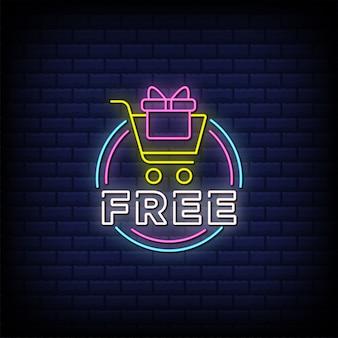 Texto de estilo de letreros de neón gratis con icono de carrito de compras y caja de regalo