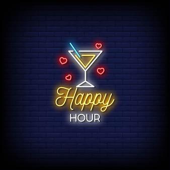 Texto de estilo de letreros de neón de happy hour